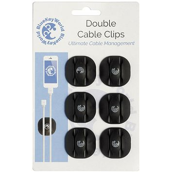 Cable Clips - Cord Holders - Wire Hooks - Clutter Free Desk in Minutes, No More Lost Wires on Floor - 6 Pack - Cord Management and Organizer - Desk, Home, Office, Cubicle, Nightstand, Car - Gift Idea 6 Double Cable Clips