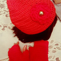 "L/XL ~HOT RED~ ""Handmade"" Crochet Beanie Set. Ready to Ship"