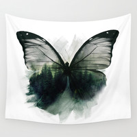 Double Butterfly Wall Tapestry by Cafelab