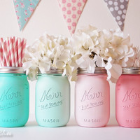 Baby Shower Centerpiece Painted Mason Jars Decoration Home Decor Vase Neutral Boy Girl Aqua Mint Pink