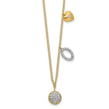 14K Yellow Gold Real Diamond Two Circle and Heart 16.5 inch Necklace