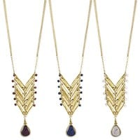 Stone Teardrop Chevron Long Necklace