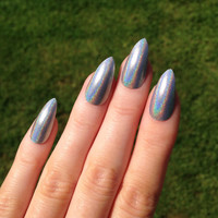 Ultra Holographic Silver Stiletto nails, Nail designs, Nail art, Nails, Stiletto nails, Acrylic nails, Pointy nails, Fake nails