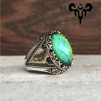 Space gemstone color changing sterling silver mens ring