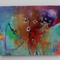 """Abstract Painting Colorful Acrylic Modern """"Daisies"""""""