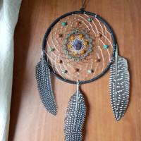 Medium Dream Catcher with Serpentine Jasper, Goldstone, Orange Quartzite & Dragon's Vein Agate // Hippie Dorm Decor