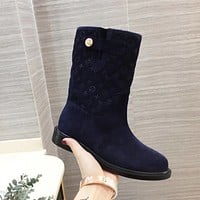lv louis vuitton trending womens men leather side zip lace up ankle boots shoes high boots 146