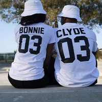 Bonnie and Clyde Short Sleeve Couple T-shirt