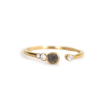 Labradorite and White Topaz Brittany Ring