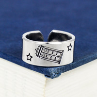 Tardis Ring - Doctor Who - Adjustable Aluminum Ring