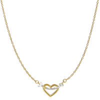 14K Two Tone Yellow And White Gold Arrow Through Open Heart Pendant On 18 Inch Necklace