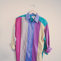 90's Silk Blouse Shirt  Green Yellow Red Tan Long sleeve Vintage Size Small Oversized Slouchy Old School Shoulder Pads