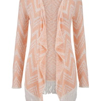 Melon Chevron Stripe Blanket Cardigan With Fringe - Melon Combo