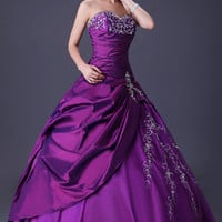 Purple Beaded Ruched Strapless Quinceanera  Ball Gown