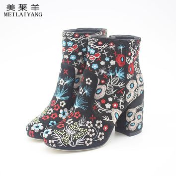 Floral Block Heel Ankle Boots fashion Embroidery women booties