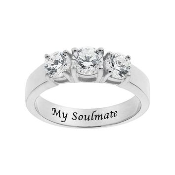 Cubic Zirconia Sterling Silver 3-Stone Promise Ring (White)