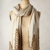 Beaded Soiree Scarf by Anthropologie Neutral Motif One Size Scarves