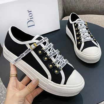 Bunchsun DIOR New Fashionable Women Casual Canvas Sneakers Sport Shoes