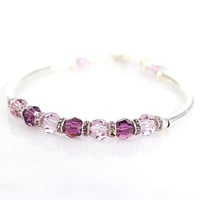 Amethyst crystal and sterling silver fitted bracelet