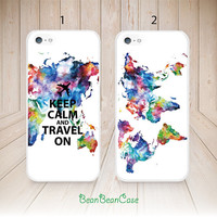 Keep Calm and Travel On Colorful world map case for iPhone 6 plus 5c 5 5s case - iPhone 4 4S Case - HTC One Case - personalized custom (L69)