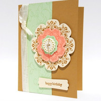 Medallion Designed Handcrafted Happy Birthday Greeting Card Brown
