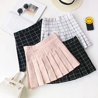 High Waisted Grid Skater Skirt