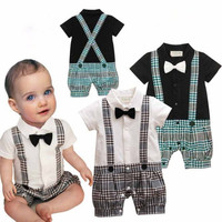 Cute Gentleman Romper Boy Suspenders Bow Tie Overall Infant Jumper 2014 New Born Baby Clothes Bebe Clothing Children Outerwear