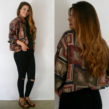 BOMBER jacket SILK scarf print // Medium // 80s BOHO