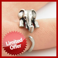 Cute Elephant Animal Wrap Rings Antique Silver Bronze for Women and Girls Unique Rings Fine Jewelry = 1946951108