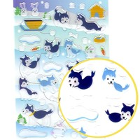Husky Puppy Dog Illustrated Animal Shaped Jelly Puffy Stickers for Scrapbooking