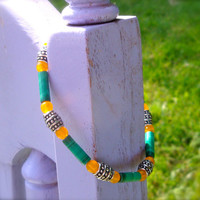 Emerald and Yellow Earthy Beaded Stretch Bracelet. Handcrafted Beaded Jewelry