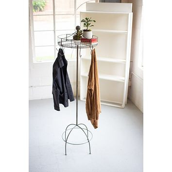 Spinning Basket & Clothes Rack On Tall Stand