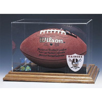 Oakland Raiders NFL Football Display Case (Wood Base)