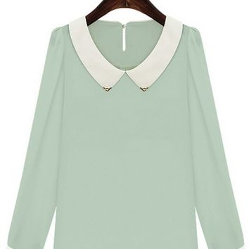 Long Sleeve Chiffon Blouse - OASAP.com