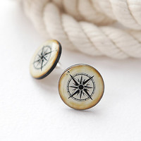 Vintage Compass Post Earrings, Beige Nautical Jewelry, Fashion jewelry, ear studs, gift for her