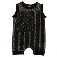 Summer born Toddler Kids Baby Boys Girls Sleeveless Striped Flag Romper Jumpsuit Clothes Outfits
