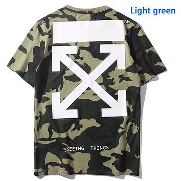 Alwayn OFF-WHITE arrow green camouflage cotton crew neck T-shirt Top