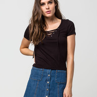 FULL TILT Womens Lace Up Top   Knit Tops & Tees
