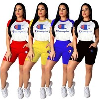 Women Champions Letter Tracksuit Short Sleeve T-shirts + Shorts 2pcs/set Sportswear Summer Stitching Color Outfits Jogger Set 2019 A4903
