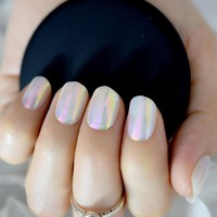24pcs Holographic Rainbow Short Fake Nail Art Tips Round Full Wrapped UV Gel Polish Acrylic Nails for Decoration Z856