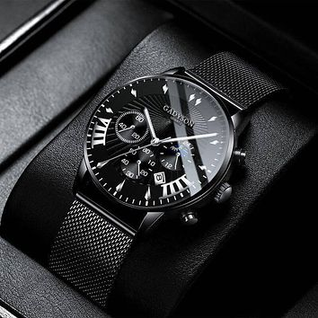 New Men Watches Luxury Famous Brand Men Stainless Steel Mesh Calendar Watch Men Business Luminous Quartz Watch Relogio Masculino