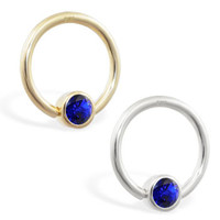 14K real gold captive bead ring with Sapphire