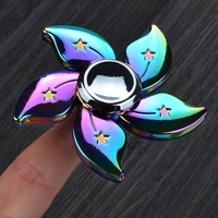Rainbow Flower EDC Metal Tri-Fidget Spinner for Autism ADHD | Focus Stress Relief