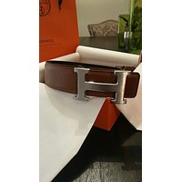 Mens Brown 90CM Leather Hermes Belt W/SILVER Hermes Buckle