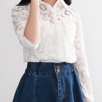 White Polo Collar Cut Out Lace Blouse