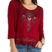 Foiled Aztec & Lace Trim Boxy Top by Charlotte Russe