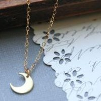 Tiny Crescent Moon Necklace 14 karat gold filled by madebymoe