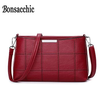 Bonsacchic Small PU Leather Bags Women Shoulder Bag Female Crossbody Bags  Clutch Purse bolsa feminina Red Handbag