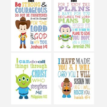 Toy Story Christian Nursery Decor Set of 4 Prints, Woody, Buzz Lightyear, Mr. Potato Head and Alien