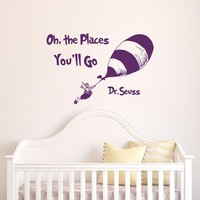 "Dr Seuss Quotes Oh The Places You'll Go Wall Decals Nursery- Dr Seuss Nursery Wall Decal Quote Kids Baby Children Playroom Wall Art Bedroom Decor |Q058| by FabWallDecals (14"" Tall x 22"" Wide)"